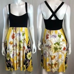 Ric Rac Floral Colorblock Cross Back A-Line Dress